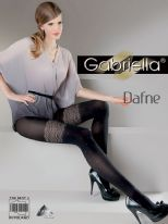 Gabriella Dafne Gorgeous Black Opaques with Cream Mock Lace Pattern to Thigh